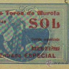 Tauromaquia: TAUROMAQUIA. TEMPORADA 1949. ENTRADA PLAZA TOROS MURCIA. SOL. 4ª. 1 PGS.. Lote 31103823