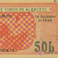 Tauromaquia: TAUROMAQUIA. TEMPORADA 1949. ENTRADA PLAZA TOROS ALBACETE. SOL. 4ª. 1 PGS.. Lote 31103847