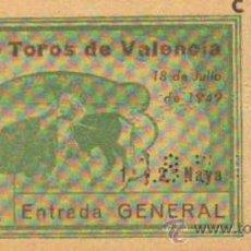 Tauromaquia: TAUROMAQUIA. TEMPORADA 1949. ENTRADA PLAZA TOROS VALENCIA. SOL. 4ª. 1 PGS.. Lote 31103858