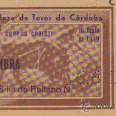 Tauromaquia: TAUROMAQUIA. TEMPORADA 1949. ENTRADA PLAZA TOROS CORDOBA. SOL Y SOMBRA. 4ª. 1 PGS.. Lote 31103933