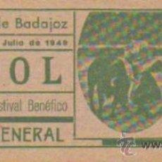 Tauromaquia: TAUROMAQUIA. TEMPORADA 1949. ENTRADA PLAZA TOROS BADAJOZ. SOL. 4ª. 1 PGS.. Lote 31103960