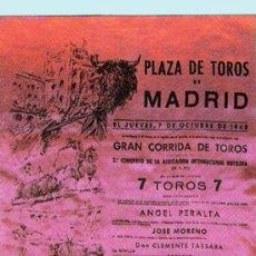 Tauromaquia: 1948.- CARTEL DE SEDA DE LA CORRIDA EN MADRID DE ANTONIO BIENVENIDA, FCO. MUÑOZ Y MANUEL GONZALEZ. . Lote 31192507