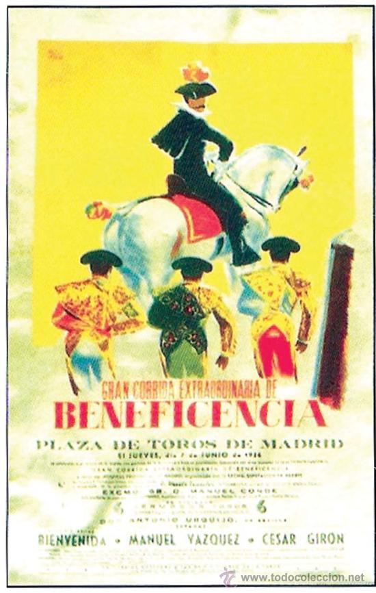 1956.- CARTEL DE ESCAPARATE DE SEDA SERIGRAFIADO CORRIDA EXTRAORDINARIA DE BENEFICENCIA. (Coleccionismo - Tauromaquia)
