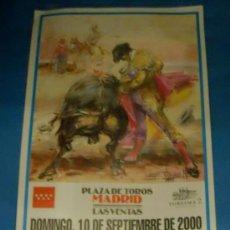Tauromaquia: CARTEL DE TOROS. PLAZA DE LAS VENTAS. ANTONIO BRICIO, REYES MENDOZA Y SERGIO MARTINEZ. AÑO 2000.. Lote 31366382