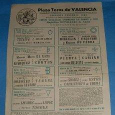 Tauromaquia: CARTEL DE TOROS. PLAZA DE VALENCIA. CORRIDAS FALLERAS DE 1969.. Lote 31412446
