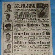 Tauromaquia: CARTEL DE TOROS. PLAZA DE VALLADOLID. 4 GRANDES CORRIDAS DE TOROS Y UNA NOVILLADA. AÑO 1961.. Lote 31412740