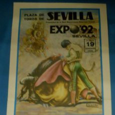 Tauromaquia: CARTEL DE TOROS. PLAZA DE SEVILLA. JUAN P. GALAN, ANTONIO PUNTA, VALDERRAMA Y PONCE. AÑO 1988.. Lote 31414262