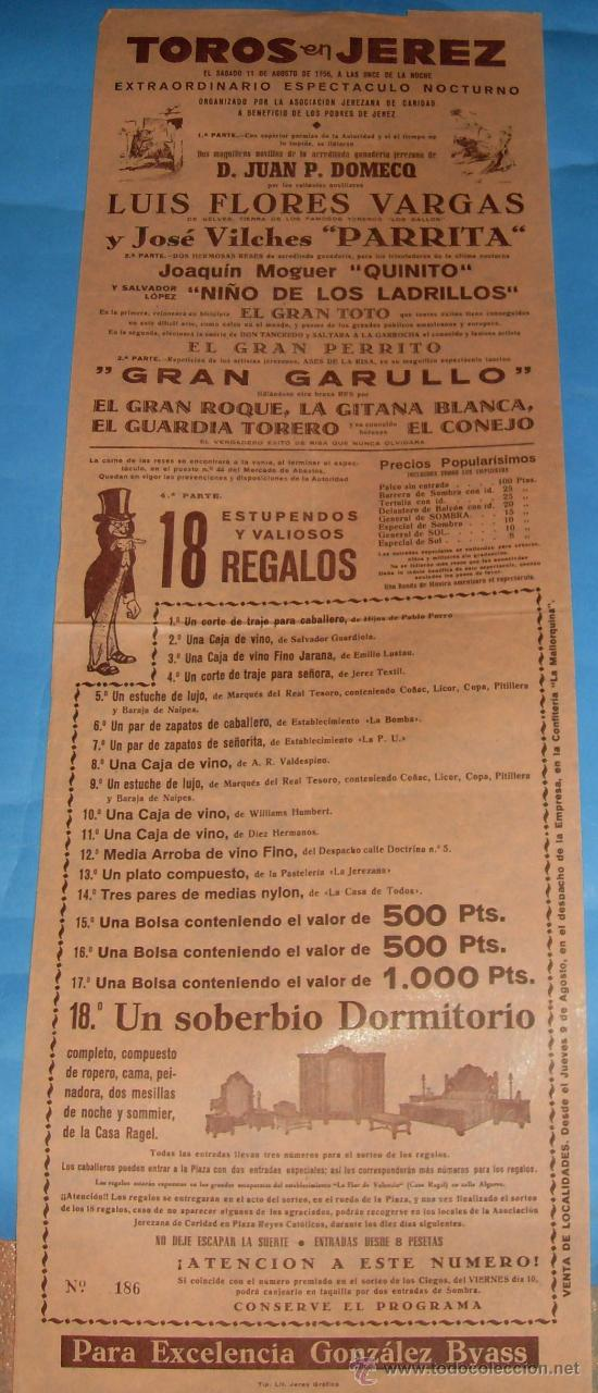 CARTEL DE TOROS. PLAZA DE JEREZ FRA. EXTRAORDINARIO ESPECTACULO NOCTURNO. AÑO 1956. (Coleccionismo - Tauromaquia)