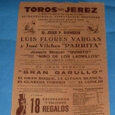 Tauromaquia: CARTEL DE TOROS. PLAZA DE JEREZ FRA. EXTRAORDINARIO ESPECTACULO NOCTURNO. AÑO 1956.. Lote 31448780