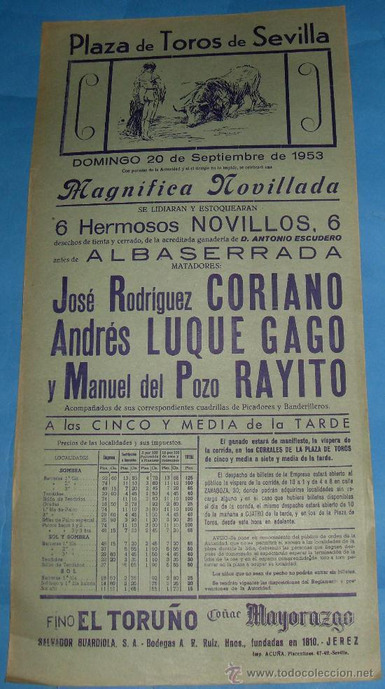 CARTEL DE TOROS. PLAZA DE SEVILLA. JOSE RGUEZ CORIANO, ANDRES LUQUE GAGO Y RAYITO. AÑO 1953. (Coleccionismo - Tauromaquia)