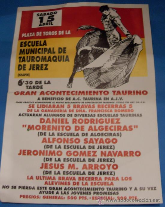 CARTEL DE TOROS. PLAZA DE CHAPIN, JEREZ FRA. GRAN ACONTECIMIENTO BENEFICO. (Coleccionismo - Tauromaquia)