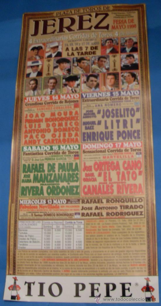 CARTEL DE TOROS. PLAZA DE JEREZ FRA. FERIA DE MAYO 1998. (Coleccionismo - Tauromaquia)