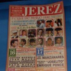 Tauromaquia: CARTEL DE TOROS. PLAZA DE JEREZ DE LA FRA. FERIA DE MAYO 1996.. Lote 31576908
