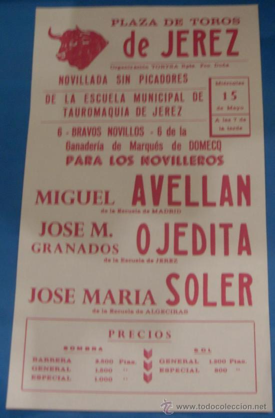 CARTEL DE TOROS. PLAZA DE JEREZ DE LA FRA. MIGUEL AVELLAN, OJEDITA Y JOSE Mª SOLER. (Coleccionismo - Tauromaquia)