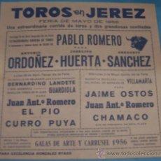 Tauromaquia: CARTEL DE TOROS. PLAZA DE JEREZ DE LA FRA. FERIA DE MAYO DE 1956.. Lote 31630686
