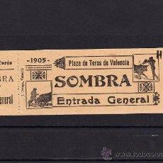Tauromaquia: ENTRADA TOROS, PLAZA DE VALENCIA, ENTRADA GENERAL SOMBRA, AÑO 1905, FORMATO 15 X 4,5 CM PAPEL . Lote 31635929