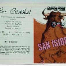 Tauromaquia: PROGRAMA TOROS SAN ISIDRO 87 1987 PLAZA TOROS LAS VENTAS MADRID CORRIDAS BAR CRISTÓBAL PUBLICIDAD. Lote 33285144