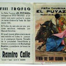 Tauromaquia: PROGRAMA TOROS FERIA SAN ISIDRO MADRID 1981 PLAZA TOROS VENTAS PEÑA TAURINA PUYAZO CORRIDAS. Lote 33285279
