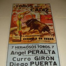 Tauromaquia: CARTEL DE TOROS. PLAZA DE CADIZ. 1959. ANGEL PERALTA, GIRON, PUERTA, MONDEÑO. . Lote 33572633