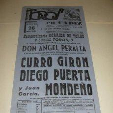 Tauromaquia: CARTEL DE TOROS. PLAZA DE CADIZ. 1959. ANGEL PERALTA, CURRO GIRON, DIEGO PUERTA, MONDEÑO.. Lote 33572659