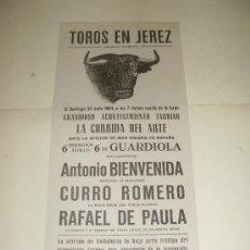Tauromaquia: CARTEL DE TOROS PEQUEÑO. PLAZA DE JEREZ. 1964. BIENVENIDA, CURRO ROMERO, RAFAEL DE PAULA. . Lote 33642172