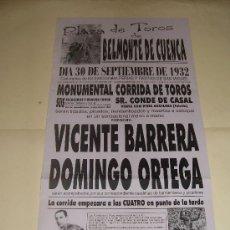 Tauromaquia: CARTEL DE TOROS. PLAZA DE BELMONTE DE CUENCA. 1932. VICENTE BARRERA Y DOMINGO ORTEGA. . Lote 33643083