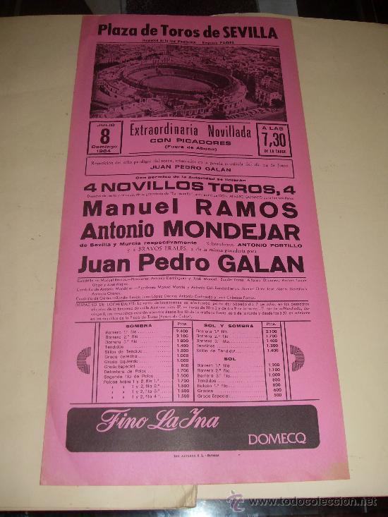 CARTEL DE TOROS. PLAZA DE SEVILLA. 1984. RAMOS, MONDEJAR, GALAN. (Coleccionismo - Tauromaquia)