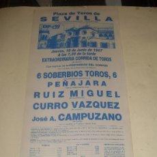 Tauromaquia: CARTEL DE TOROS. PLAZA DE SEVILLA. 1987. RUIZ MIGUEL, CURRO VAZQUEZ, CAMPUZANO. . Lote 33918813
