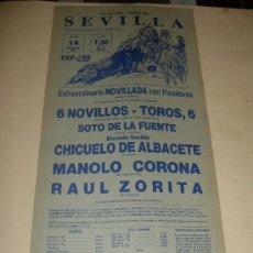 Tauromaquia: CARTEL DE TOROS. PLAZA DE SEVILLA. 1987. CHICUELO DE ALBACETE, MANOLO CORONA, RAUL ZORITA. . Lote 33919726