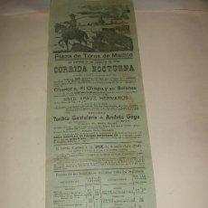Tauromaquia: CARTEL DE TOROS. PLAZA DE MADRID. 1924. CORRIDA NOCTURNA. TORIBIO SANTOLARIA, ANDRES GAGO. . Lote 34033206
