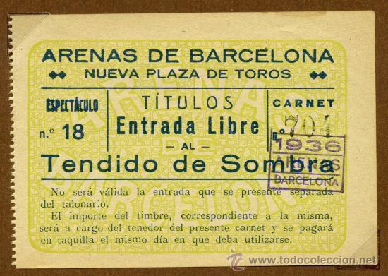 TOROS ENTRADA - AÑO 1936 (Coleccionismo - Tauromaquia)