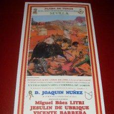 Tauromaquia: CARTEL DE TOROS. PLAZA DE SEVILLA. FERIA DE ABRIL 1998. LITRI, JESULIN DE UBRIQUE, BARRERA. . Lote 34178709