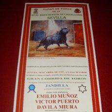 Tauromaquia: CARTEL DE TOROS. PLAZA DE SEVILLA. FERIA DE ABRIL 1997. EMILIO MUÑOZ, PUERTO, MIURA. . Lote 34179375