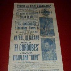 Tauromaquia: CARTEL DE TOROS. SAN FERNANDO. 1961. BEJARANO, EL CORDOBES... GANADERIA DE JOSE CEBADA. . Lote 34180604