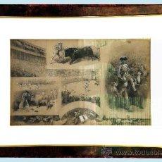 Tauromaquia: CHAVEZ Y ORTIZ, JOSE (1839-1903) -LA LIDIA Y EL TRIUNFO- FECHA 19/12/1897. DIBUJO A LAPIZ Y PASTA.. Lote 34365250