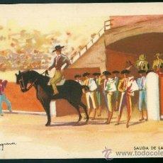 Tauromaquia: POSTAL TAURINA, TOROS, TORERO, SALIDA DE CUADRILLA, MALAGRANA, ED. CMB, SIN CIRCULAR. Lote 34461508