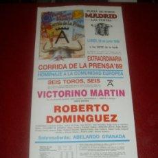 Tauromaquia: CARTEL DE TOROS. PLAZA MADRID. 1989. ROBERTO DOMINGUEZ. GANADERIA VICTORINO MARTIN. . Lote 35565179