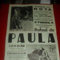 Tauromaquia: CARTEL DE TOROS. PLAZA ROTA. 1970. , RAFAEL DE PAULA. GANADERIA OSBORNE DOMECQ. . Lote 35608357