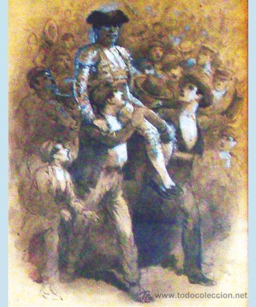 Tauromaquia: CHAVEZ Y ORTIZ, JOSE (1839-1903) -LA LIDIA Y EL TRIUNFO- FECHA 19/12/1897. DIBUJO A LAPIZ Y CLARION - Foto 2 - 35607188