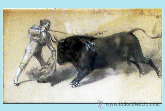Tauromaquia: CHAVEZ Y ORTIZ, JOSE (1839-1903) -LA LIDIA Y EL TRIUNFO- FECHA 19/12/1897. DIBUJO A LAPIZ Y CLARION - Foto 4 - 35607188