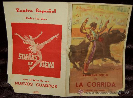 PROGRAMA OFICIAL DE LA CORRIDA - LIT ORTEGA (Coleccionismo - Tauromaquia)