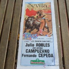 Tauromaquia: CARTEL DE TOROS PLAZA DE TOROS DE SEVILLA FERIA DE ABRIL 1989 DIA 8. Lote 35912167
