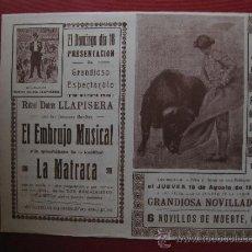 Tauromaquia: PLAZA TOROS JATIVA VALENCIA CARRUSEL 1946 NOVILLADA MACHAQUITO,FARAON Y HONRUBIA LA MATRACA. Lote 36537740