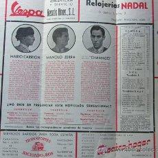 Tauromaquia: PROGRAMA TOROS ZARAGOZA 1954 / MARIO CARRION - MANOLO ZERPA - CHAMACO / JOSE BENITEZ CUBERO. Lote 37157977