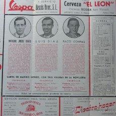 Tauromaquia: PROGRAMA TOROS ZARAGOZA 1954 / BARTOLOME JIMENEZ TORRES - LUIS DIAZ - PACO CORPAS / PAREJA OBREGON. Lote 37158151