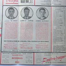 Tauromaquia: PROGRAMA TOROS ZARAGOZA 1954 / CELESTINO HERNANDEZ EL CHULI - MANOLO ZUÑIGA - ANDRES ALVAREZ / ALBAS. Lote 37158194