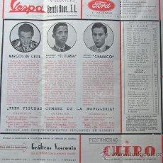 Tauromaquia: PROGRAMA TOROS ZARAGOZA 1955 / MARCOS DE CELIS - EL TURIA - CHAMACO / MANUEL GONZALEZ - AVILA. Lote 37158296
