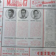 Tauromaquia: PROGRAMA TOROS ZARAGOZA 1956 / JAIME OSTOS - CHAMACO - ANTONIO PALACIOS / URQUIJO DE FEDERICO. Lote 37158343