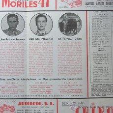 Tauromaquia: PROGRAMA TOROS ZARAGOZA 1956 / JUAN ANTONIO ROMERO - ANTONIO PALACIOS - ANTONIO VERA GALLARDO SANTOS. Lote 37158379