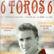 Tauromaquia: REVISTA 6 TOROS 6 Nº 48 - AÑO 1994. MANOLO SANCHEZ, LA JOYA DE LA CASA CHOPERA. MADRID EN OTOÑO.. Lote 37455665